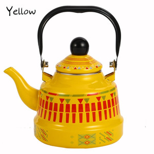 1.1 1.7 2.5L Whistling Enamel Tapot with Steel Handle Exquisite Stovetop Kettles Traditional Bone China Teapots Luxirious Metal Jug OWD2283