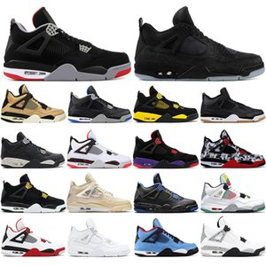 with free socks Top Quality Bred Men Jumpman 4 4s Basketball Shoes black gum MOTORSPORT WHITE CEMENT sneakers Mens Trainers Sports 36-47