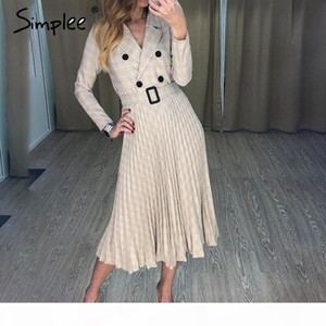 Hot Vintage pleated belt plaid dress women Elegant office ladies blazer dresses Long sleeve female autumn midi party dress