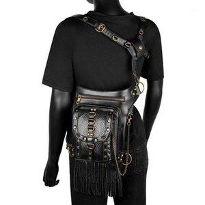 Yourseason moto السائق السيدات حقيبة الخصر 2021 steampunk بو الجلود متعددة الوظائف الإناث الكتف شرابة برشام أكياس 1