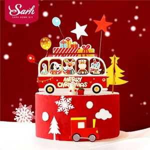 Happy Bus Xmas Friends Cake Topper for Christmas Party Decor Snowflake Star New Year Gold Tree Baby Shower Kid Baking Love Gifts