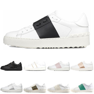 Moda clásica Zapatos para mujer Hombre Casual Blanco Rosa Verde Todo negro Mujer Cuero Zapatos cómodos Zapatillas deportivas bajas abiertas Tamaño 35-46