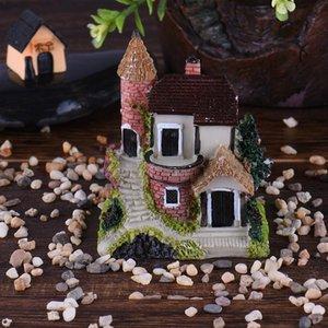 Mini Castillo Casa Cabañas Decoración DIY Juguetes Artesanía Figura Moss Terrarium Fairy Garden Ornament Decoración de paisaje Color aleatorio Y0107