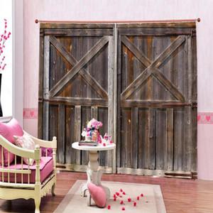 Склад Старые деревянные двери темные большие окна занавесы для гостиной спальня полиэстера Фэрбические затемнения Drapes