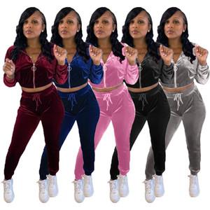Designer Womens Sportswear Tracksuit Velvet Long Sleeve Jacket Pants Two Pieces Set Hoodie Legging 2 Piece Set Outfits Bodycon Sports Set
