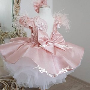 Pink Flower Girl Dresses sleeveless satin Knee length Applique Ruffles Girls Pageant Gowns Children Birthday Party Dresses