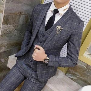 ( Jackets + Vest + Pants ) Fashion Boutique Plaid Mens Slim Casual Business Suits Groom Wedding Dress Stage Banquet Male Suit