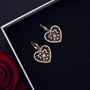 Heart shape love earrings for women girls fashion jewelry party rhinestone accessories