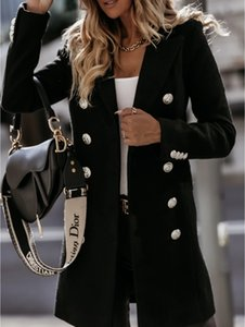 패션 새로운 여자 코트 더블 브레스트 칼라 겉옷 야외 트렌치 겨울 눈 코트 크기 M-2XL