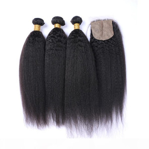 9A capelli umani mongoli con chiusura a base di seta Kinky dritto 3 pacchi con chiusura grossolana yaki teaves con chiusura superiore in seta
