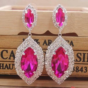 Zerong large rhinestone dangling earring Luxury jewelry drop colorful earring with big glass stone gold silver wedding