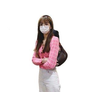 Blackpink Aynı Lisa T-shirt Hırka Top Pembe Çek Kısa Sonbahar Kış Kazak Ceket Kadın Giyim MSMP