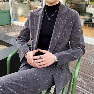 Costume de luxe velours costume homme double poitrine hommes slim ajustement costume avec pantalon étoilé Stare décontracté robe de mariée sculticules costume homme w1217