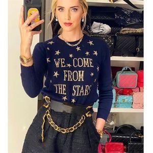 Cosmicchic Women Stars Pullovers 100% Wolle Langarm Strickpullover Gold Sternbrief Jumper NavysWeater Blaue weiche Strickwaren 201224