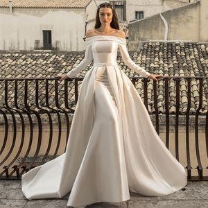 Elegant Beaded Lace Wedding Dresses With Detachable Train Off Shoulder Mermaid Bridal Gowns Applique Satin Wedding Wear