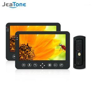 Jeatone Video Doorbell Inicio Intercomunicador Video Teléfono de puerta 960P Cámara de timbre impermeable con 2x Monitor de 10 pulgadas Kit de intercomunicación1