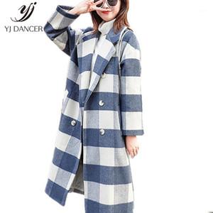 Yün Ceket Kadın 2020 Moda Yeni Sonbahar Ve Kış Popüler Ekose Yün Suit Yaka Ceket Uzun H02151