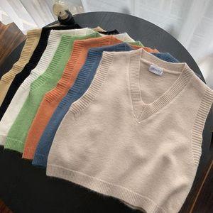 2020 Autumn Retro Solid Color Plush Velvet V-neck Woolen Knit Vest Women's High Waist Short I-Sshaped Sleeveless Sweater Vest