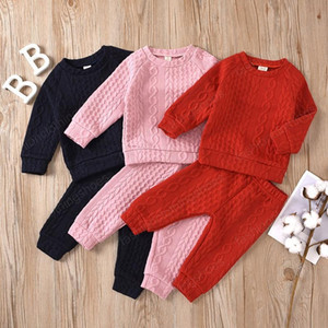 Kids Girls Sweaters Outfits Solid Colors Twist Tops Infant Toddler Clothes Sets Long Sleeve Shirts Elastic Trousers Two Pcs Set 6M-4T