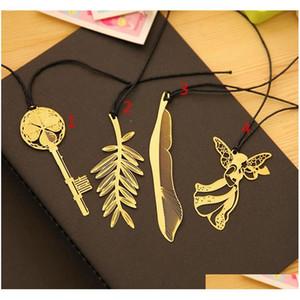 Nuova decorazione di matrimonio oro bookmark piuma metallo paragrafo creativo segnalibri 4quales studente regalo libro uso spedizione