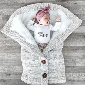 Automne Bébé Baby Winter plus Sac de couchage Bouton tricoté et couette de couette de couette de velours de couette de velours de laine de laine de laine de couverture épaisse GEHWQ