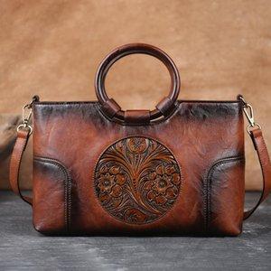Motaora-Frauen-Umhängetasche Retro handgefertigte geprägte Taschen hochwertige Leder Messenger Bags für weibliche große Kapazität Handtasche C0121