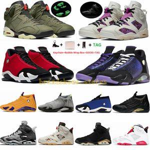 Avec boîte 14s SE Black Thunder Candy Cane 14 Chaussures de basket-ball pour hommes Jumpman 6 6s Travis Scotts Tech Chrome DMP Baskets de sport Baskets