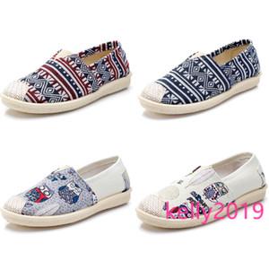 zapatos de mujer retro no marca Alpargatas Zapatos planos de deslizamiento en los zapatos de lona de las zapatillas de deporte de los holgazanes informal Multiclticolors 35-40 Style 3