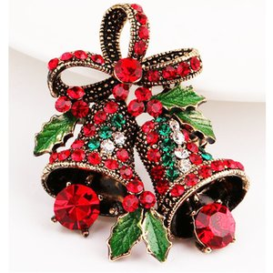 Traje de Navidad de la broche de regalo creativo del Bowknot de alta calidad ramillete broche antigua de la Navidad Navidad Bell Decoración T3I51237