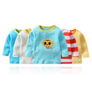 5 teile / los Baby Tops Unisex Neugeborene Jungen Mädchen T Shirts Langarm Kleidung Säugling Cartoon Gedruckt Hemd Kleinkinder Babys Kleidung T200706