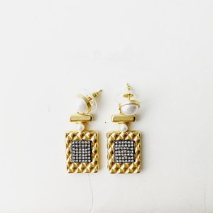 2020C2274 Brass 925 silver needle earring simple square tag cubic zirconia golden eardrop elegant female fashion accessories