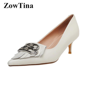 White Leather Bridal Wedding Shoes Metal Buckle Women Formal Dress Stilettos Pointed Toe Shallow Prom Creepers Design Zapatillas