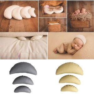 3 PCS Set PU Leather Baby Photography Costume Moon Posing Props Baby Pillows Newborn Photography Props Basket Filler Fotografia