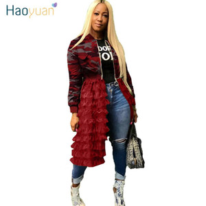 HAOYUAN Plus Size Outerwear Camoflage Coats and Jackets Women Overalls Fall Clothes Mesh Ruffle Hem Long Sleeve Bomber Jackets