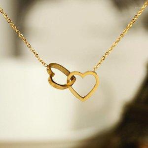 Anhänger Halsketten Doppel Herz Anhänger für Frauen Liebe Schmuck Brautjungfer Geschenke Edelstahl Link Kette Bijoux Femme Collier Choker1