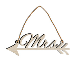 Hemp Rope Pendant Arts And Crafts Widget Letter MR And MRS Wood Pendans Arrow Signpost Wedding Celebration Decorate 5hx p1
