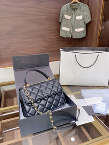 Marca Negro bolso de cuero de inclinación, patrón romboidal, diseño de múltiples capas, cómodo y práctico, tamaño 25 cm x 17 cm, con caja de regalo.