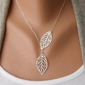 Woman Simple Leaves New Fashion 2020 2 Choker Collar Statement necklace Women Jewelry