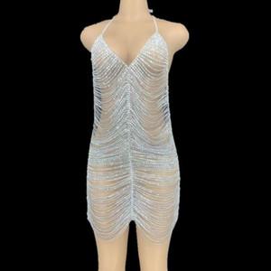 Shining Fake Rhinestone Chains Halter Backless Short Dress Black Birthday Celebrate Party Dress Bar Club Dance Hollow Outfit