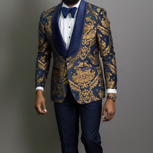 Navy Blue Floral Jacquard Prom Men Suits for Wedding 3 Piece Slim Fit Groom Tuxedo African Male Fashion Costume Jacket Pants W1217