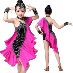 Розовых Дети Профессионального Бальные Latin Salsa Dance одежды платье Соревнование костюмы Девушка Sequined Танцы платье Сценической Эпикировка
