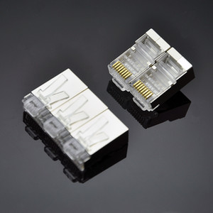 المعادن درع CAT6 رئيس الكريستال RJ45 موصل مطلية بالذهب 8P8C شبكة كابلات التوصيل محول للكمبيوتر جيجابت إيثرنت