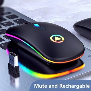 Rechargeable Wireless Mouse 7 color LED Backlight Silent Mice USB Optical Gaming Mouse for Computer Desktop Laptop PC Game Gamer1
