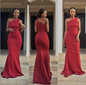 2021 Red Satin Prom Dresses One Shoulder Mermaid Long African Black Girl Women Evening Dress Formal Party Gowns vestidos Custom