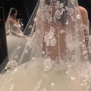 White Bridal Veils Pearl Lace Rhinestone Veil 3 Yards Fairy Beauty Dream Wedding Veil High Quality Free Shipping