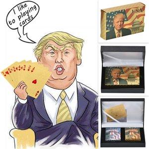 Donald Trump Cartes Plastic Cartes Plasking Poker Gold et Silver Poker Ensemble d'anniversaire d'anniversaire imperméable pour hommes Dropshipping 201125