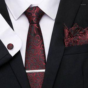 Wedding Men ties Set Extra Long Size 145cm*7.5cm Necktie Red Tie Clip Cuffink Handkerchief Tie Set Wedding Party Men Classic1