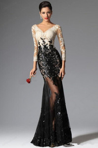 White and Black Lace Evening Dresses V-Neck Luxury Sequined Beads 3 4 Long Sleeve Tulle Formal Prom Party Gowns E011