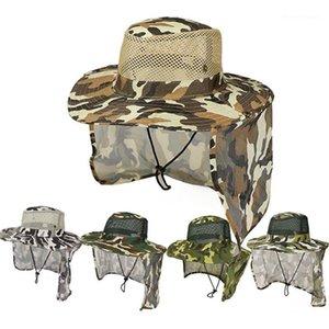 حافة واسعة القبعات الرياضة في الهواء الطلق دلو قبعة الشمس حماية الوجه الرقبة رفرف uv كاب التمويه مع قناع headband1