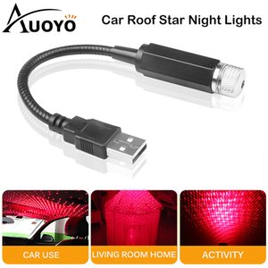 Auoyo Car Atmosphere Lights USB Interior Decorative Lamp Mini LED Car Roof Star Night Lights Adjustable Romantic Galaxy Lamp 201030